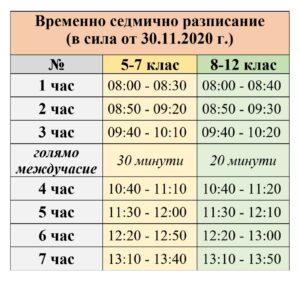 разписание